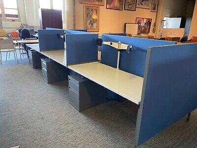 Lot Of 6 - 5x2x49h Cubiclesbenching Stations By Knoll Office Furniture