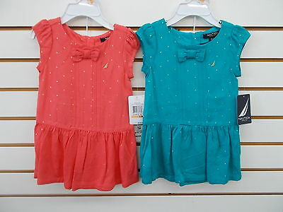 Infant & Girls Nautica$34.50-$36.50 Coral or Teal Rayon Dress Size 12 Months-12