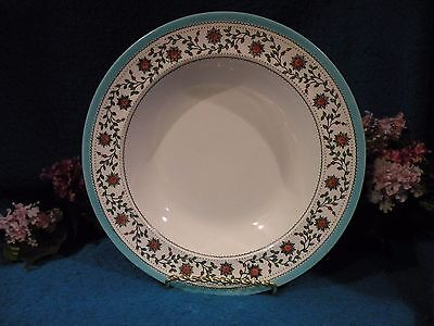 """Royal Crown Derby 3 """" Star Wreath"""" Soup Plates Turquoise trim Pink flowers"""