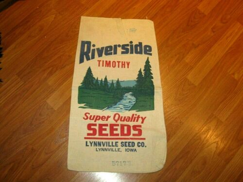 Vintage Old Riverside Seed Cloth Sack Bag Lynnville Iowa IA Farm Advertising