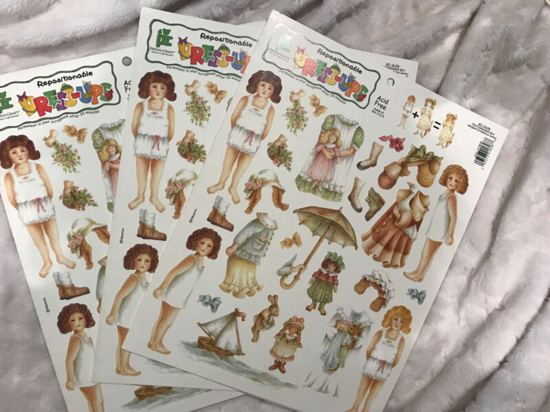 3 New Provo Craft REPOSITIONABLE DRESS-UPS  Scrapbook Sticker Old Fashioned Girl