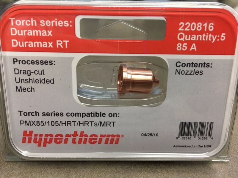 Hypertherm 85A Nozzle 5 pack Powermax 85 & 105 220816 Genuine OEM HRT/MRT