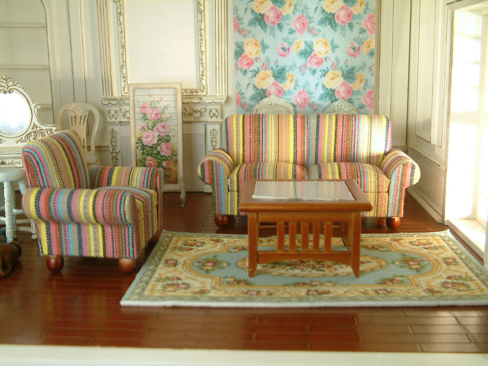 1:12 Dollhouse Miniature furniture living room elegant chair sofa table 3pcs set