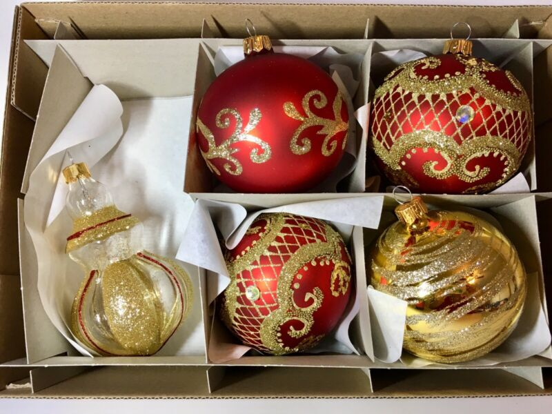 5 ELEGANT RED & GOLD GLASS BALL CHRISTMAS ORNAMENTS TEARDROP BEADED RHINESTONES