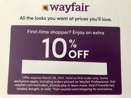 Wayfair Coupon 10 Off Discount Promo Code Expires March 26 2021 FIRST ORDER - $3.50
