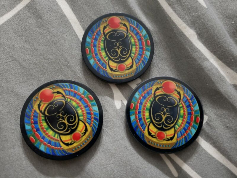 Egyptian Scarab Beatle 3pc CERAMIC POKER CHIP - CARD COVER GUARD - LUCKY CHARM