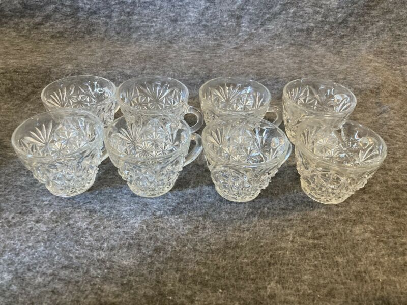 Vintage• Set Of 8 • Anchor Hocking Arlington Punch Bowl Cups With Handles