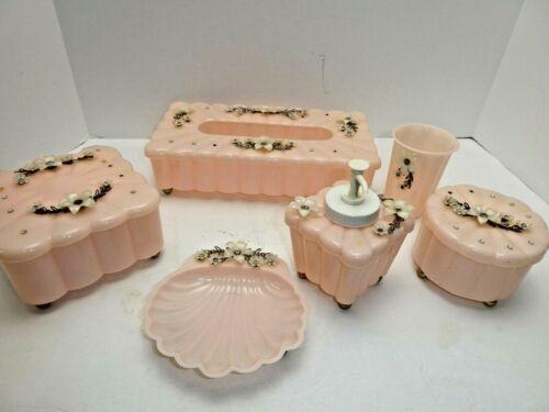 Vintage Pink Plastic MENDA Co 6 Piece Dresser Vanity Set