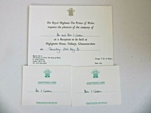 HRH Prince Charles  Signed card with invitation card & information letter--1996