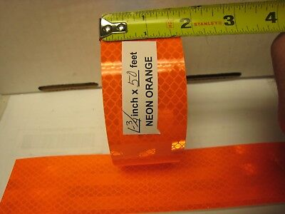 Neon Orange Reflective  Conspicuity Tape 1-34 X 50 Feet  Lined