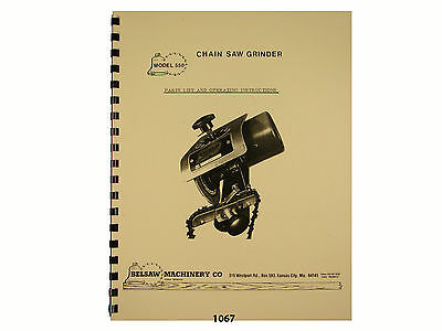 Foley Belsaw Model 550 Chain Saw Grinder Owners Manual 1067