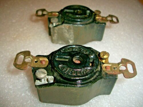 2- RARE, Antique HUBBELL  Ceramic ELECTRIC OUTLET - RECEPTACLES, 20A / 250V