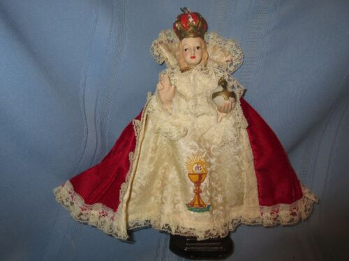 """vintage plaster statue Jesus Infant of Prague 11"""" Made In Italy w/ robe costume"""