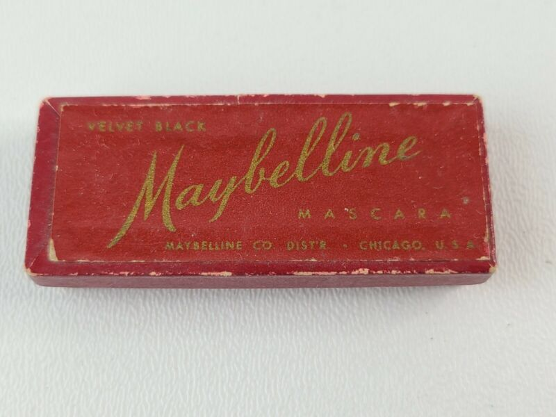 VTG Maybelline Cake Mascara Red Flip Case Red Brush Velvet Black Collectible