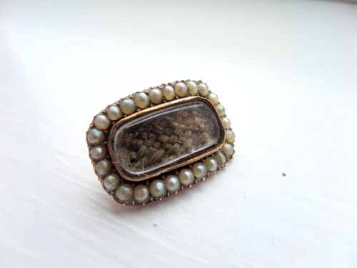 Georgian 15ct Gold And Seed Pearl Mourning Brooch- Inscribed Sarah Helsor
