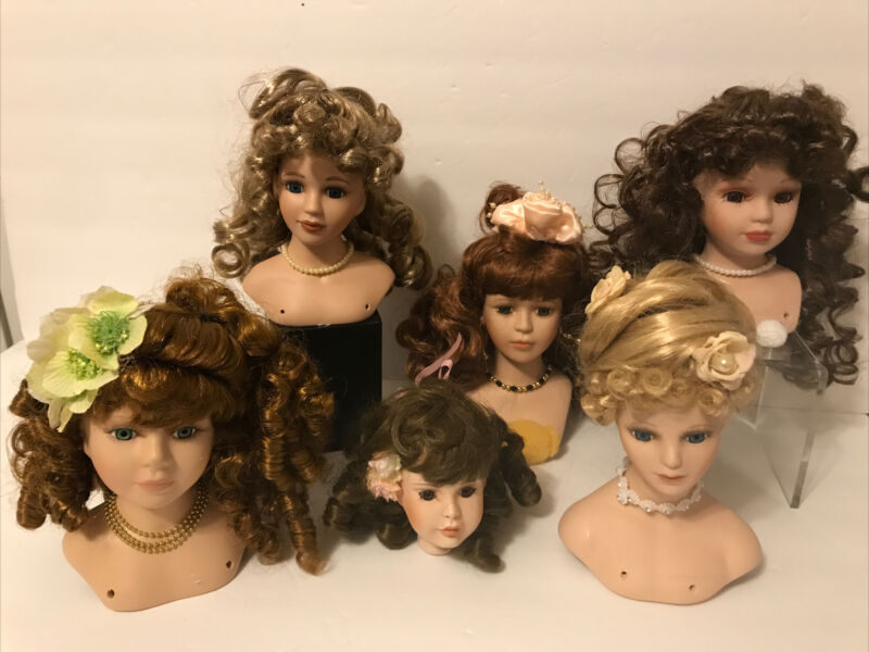 Lot of 6 Porcelain Painted Doll Heads for Project, Doll Making, Repairs (H20)