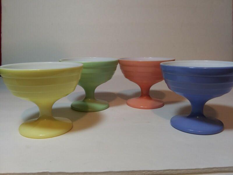 Lot 4~Vintage ~ HAZEL ATLAS~ Moderntone Pastel Footed Sherbets Dishes