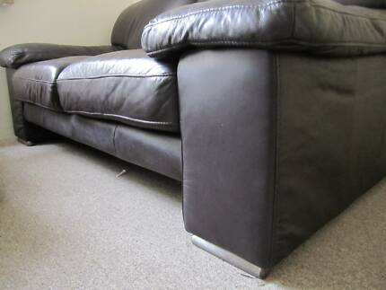 Very good condition plush chocolate brown true leather lounge Lilyfield Leichhardt Area Preview