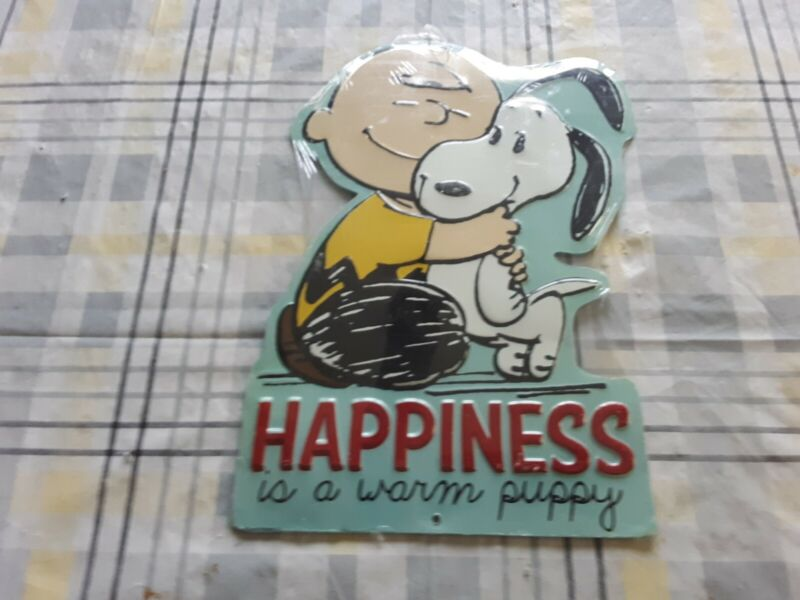 Peanuts Tin Metal Wall Sign Charlie Brown And Snoopy Happiness Is A Warm Puppy