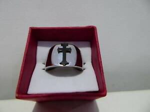 RING, STAINLESS STEEL/BLACK CROSS, SIZE 8, BRAND NEW IN BOX