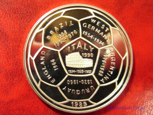 1989 Cambodia Large Silver Proof  20 Riels World Cup Soccer(Football)-Colosseum