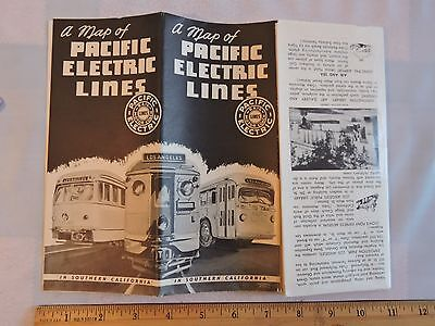 (1949 Pacific Electric Lines PCL Los Angeles Bus Trolley Railway Map Hollywood CA)