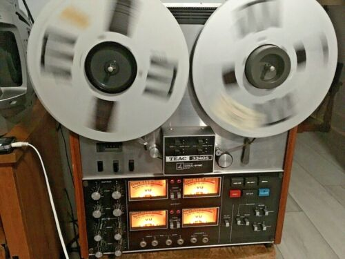 PLEASE READ TEAC 3340S 4 TRACK QUAD 10.5 INCH REEL TO REEL TAPE DECK RECORDER