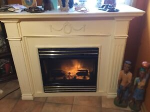Electric fireplace with custom mantel