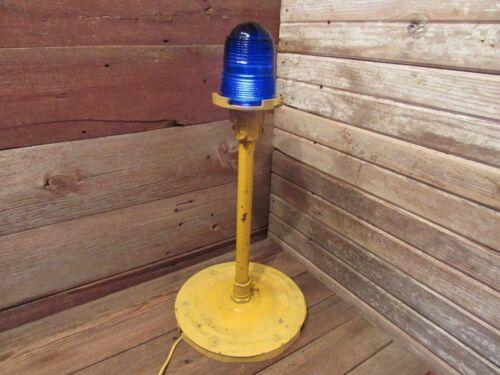 Vintage Glass Cobalt Blue Globe Man Cave Airport Runway Taxiway Light Lamp