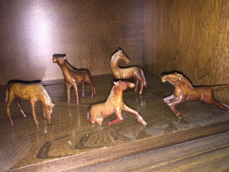 Miniature Handcarved Wooden Horse Set