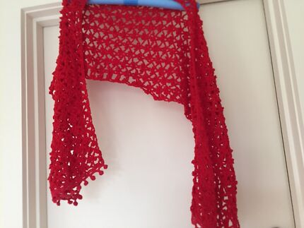 Crocheted stole/ scarf - red Black Rock Bayside Area Preview