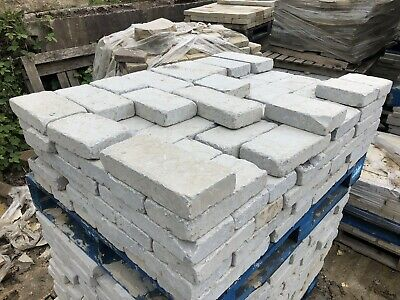 Grey 100x200mm Genuine Yorkshire stone Tumbled setts block Paving Path driveway