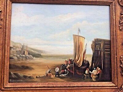 Oil on canvas painting signed Max Brandrett Fishing boat on the shore