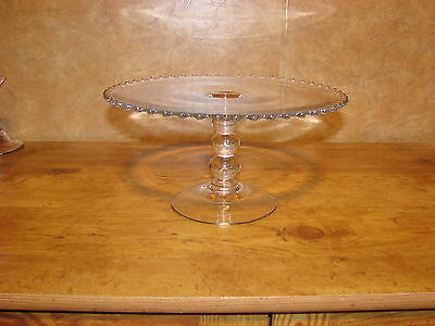 Vintage Candlewick Pedestal Cake Plate-Imperial Glass Co--3 Beaded Stem