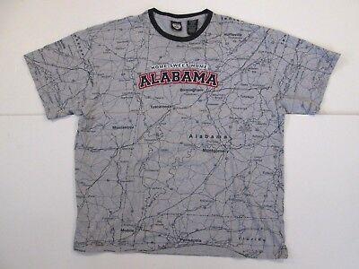 Alabama State of Mine Short Sleeve Crewneck T Shirt Mens XL Cotton Road Map (Alabama State Map T-shirt)