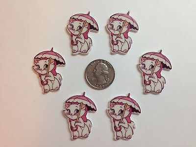 6 Pcs Lot Marie Cat Flatback Resin Cabochon Hair Bow Center Supplies. for sale  Perris