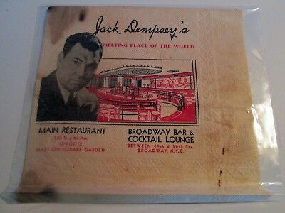 JACK DEMPSEY'S Meeting Place of the World Original Napkin Boxing Legend for sale  Ipswich