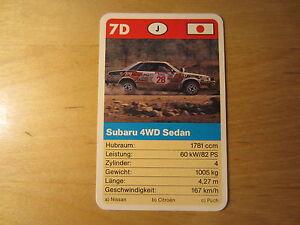 Quartett Einzelkarte FX Schmid Super Trumpf Rallye 7D Subaru 4WD Sedan - Maria Enzersdorf, Österreich - Quartett Einzelkarte FX Schmid Super Trumpf Rallye 7D Subaru 4WD Sedan - Maria Enzersdorf, Österreich