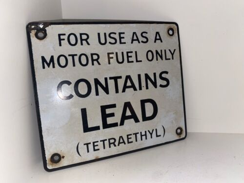 Vintage Gas Pump Porcelain Contains Lead (Tetraethyl) Service Station Oil Sign