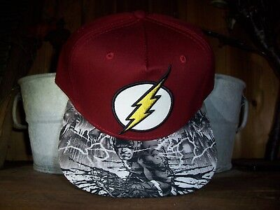 FLASH MENS BALL CAP HAT WITH ADJUSTABLE SNAP STRAP MAROON COMIC BOOK HERO CAP