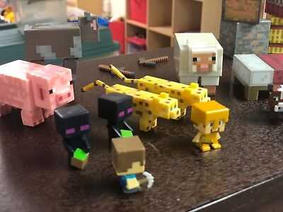 27 pc MINECRAFT action figure Lot: Characters, Animals, Monsters, blocks & tools