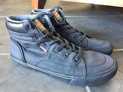 Levi's Youth Shoes Sz 5.5 Black Canvas Sneaker High Top Athletic Urban Skate Boys Urban High Top