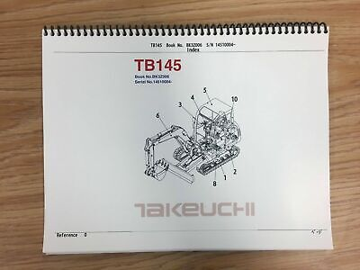 Takeuchi Tb145 Parts Manual Sn 14510004 And Up Free Priority Shipping