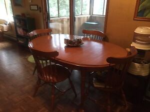 Oak table and chair set