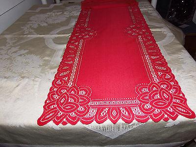 Red Lace Battenburg design Table Runner 36 x - Red Table Runner