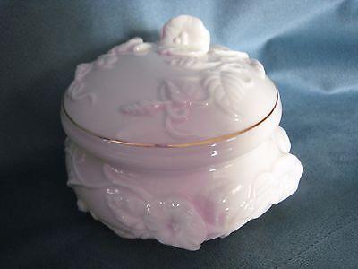 Vintage San Francisco Music Box Morning Glory White Ceramic Trinket Box