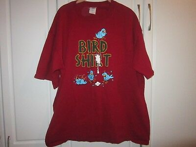 Mens XL TG  Humorous Bird Poop Shirt  Red Short Sleeved Tee Shirt