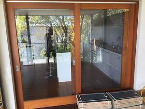 Cedar sliding door with sliding fly screen Avalon Pittwater Area Preview