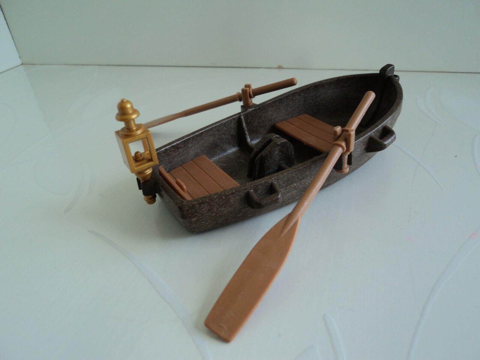 Playmobil vintage pirates barque canot marron lampe rames 2ème génération #6
