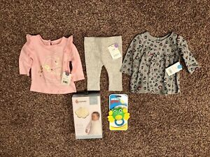 Brand New outfit, swaddle and rattle
